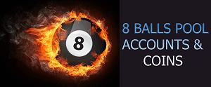 8 BALLS POOL ACCOUNTS & COINS